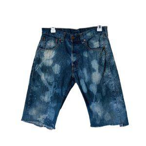 Levi's 501 bleach distressed raw hem cutoff shorts